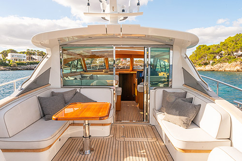 Deck view of Mulder Favorite 1500 Luxury Yacht while chartering in Mallorca