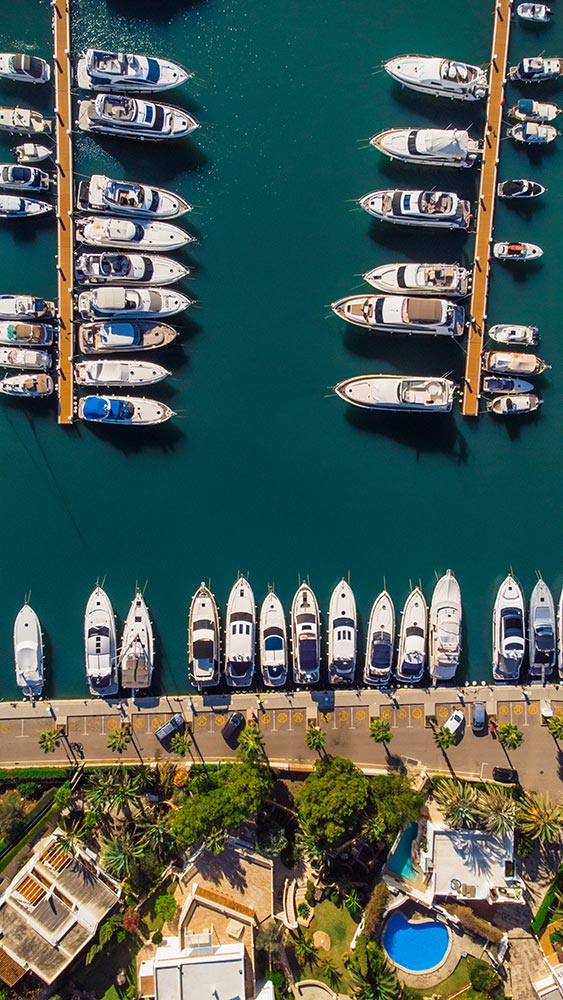 Aerial view of Private Yachts in Marina de Cala d'Or - Mallorca