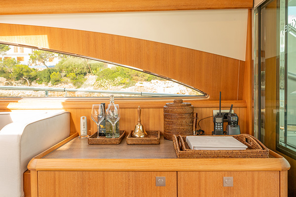 View of interiors of a Mulder Luxury Charter Yacht