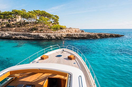 Deck view of a luxury charter yacht in Mallorca east coast