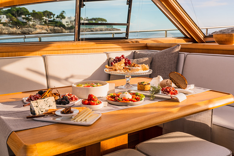 Buffet Style Lunch served on a luxury yacht in Mallorca