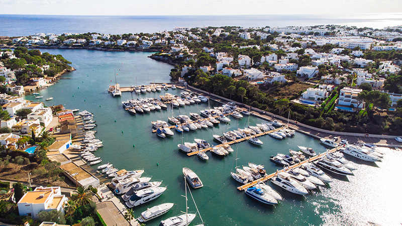 Aerial view of Marina de Cala d'Or in Mallorca