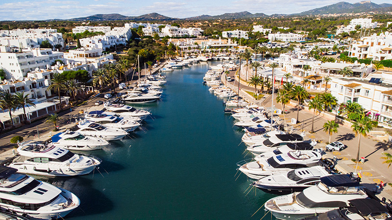 Aerial view of Private Pier of Marina de Cala d'Or in Mallorca